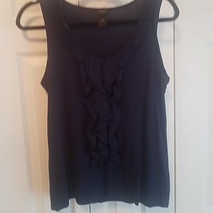 Ann Taylor navy blue tank with ruffles down the f